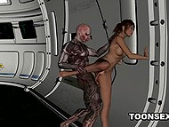 Hussy enjoys powerful cock of cyborg penetrating her trimmed pussy from behind on spaceship