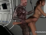 Hussy enjoys powerful cock of cyborg penetrating her trimmed pussy from behind on spaceship 4