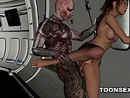 Hussy enjoys powerful cock of cyborg penetrating her trimmed pussy from behind on spaceship 6