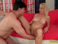 Experienced blonde Erica Lauren was eager to share knowledge with young lover 4