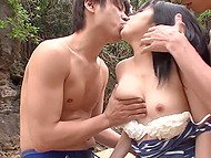 Japanese guys surround beautiful girl at beach and start to finger her wet pussy 4
