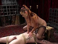 Perverted MILF with huge boobs penetrated man with strapon and then made him satisfy her 11