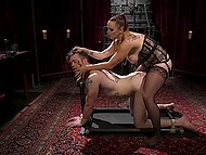 Perverted MILF with huge boobs penetrated man with strapon and then made him satisfy her 5