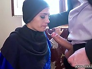 Arab girl in long robe tries her best to swallow giant dick as deep as possible 5