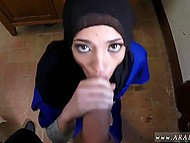 Arab girl in long robe tries her best to swallow giant dick as deep as possible 8
