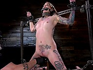 Inked and skinny brunette has to suffer all kind of punishments while being tied up
