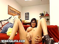 Chesty Arab Mia Khalifa sets her arsenal of adult toys in motion to entertain web chat viewers