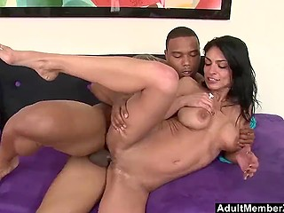 Big-tittied Arab woman doesn't even close the door behind black lover hurrying on hard dick