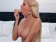 Attractive barbie from Sweden exposes huge boobs and caresses anal hole on webcam 6