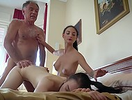Naughty brunette lures old man in bed and calls her best friend for threesome