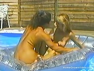 Homemade video of hot chicks in a pool with powerful guy who can fuck them all day long 8