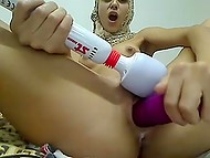 Pussy of Arab girl in hijab was already soaking when she finally brought sex toys into play 4