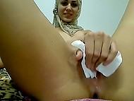 Pussy of Arab girl in hijab was already soaking when she finally brought sex toys into play 5