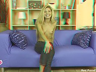 Smiling Russian girl with long hair gives butthole to random guy at casting recorded in 3D format 5