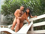 Haired man drills tiny anal hole of petite Brazilian whore in doggystyle by outdoor pool