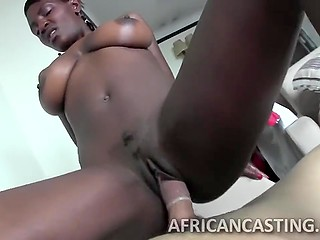 African female exposes giant natural tits and makes herself comfortable on porn agent's dick