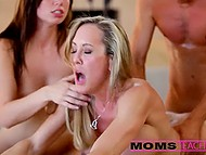 Stacked stepmother Brandi Love introduces naughty neighbor to her shy stepson 11
