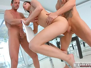 Classic gonzo video starring whore with gorgeous body and some experienced fuckers