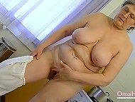 Playful granny with chubby body adores pushing her sex toy into juicy hole in a bathroom