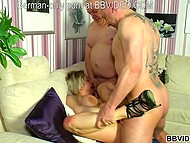 German MILF with big boobs doesn't mind having passionate sex with two big fellows 9