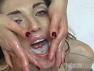 Teen with petite body receives hundred of cum loads and swallows most of them 6