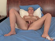 Amateur short-haired chick loves to massage hairy pussy with fingers and vibrator 5