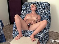 Amateur short-haired chick loves to massage hairy pussy with fingers and vibrator 8
