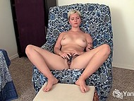 Amateur short-haired chick loves to massage hairy pussy with fingers and vibrator 9