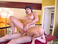 Exotic MILF asks young guy to give her massage and at the same time she craves for his dick 4