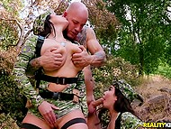 Teens in military uniform are coming to check out brave warrior in unrestrainable fucking 5