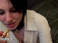After romantic dinner mischievous French teen invites brave guy and allows to fuck tight snatch 4