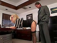 Golden-haired secretary knows she fucked up and bends in front of her boss in office 4