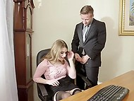 Boss asks slender employee to tell about her best qualities but sexy girl prefers to demonstrate it 4