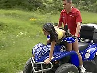 Asian nympho likes just extreme sex, so partner fucks her on ATV and during mountaineering 6