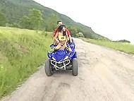 Asian nympho likes just extreme sex, so partner fucks her on ATV and during mountaineering 7
