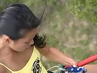 Asian nympho likes just extreme sex, so partner fucks her on ATV and during mountaineering 9
