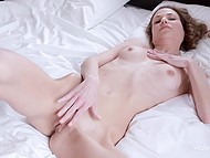 When beauty calls the shots, she lies the whole day in bed and masturbates voracious pussy 8
