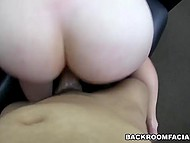 Dolly bird with unshaved pussy obediently executes every single sexual whim of lascivious cameraman 10