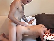 Ambrosial chick fervently sucks silent BF's cock and then welcomes it in skillful pussy 5