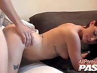 Ambrosial chick fervently sucks silent BF's cock and then welcomes it in skillful pussy 6