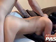 Ambrosial chick fervently sucks silent BF's cock and then welcomes it in skillful pussy 7