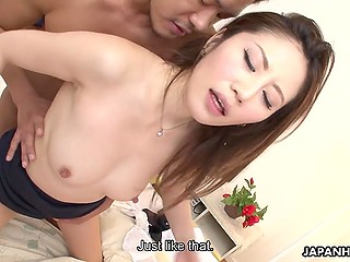 Japanese dick wetted tender Asian's pussy with Hitachi and shoved his small cock in her womb