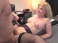 Experienced blonde Nina Hartley shares sexual knowledge with young assistant 10