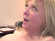Experienced blonde Nina Hartley shares sexual knowledge with young assistant 11
