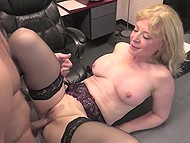 Experienced blonde Nina Hartley shares sexual knowledge with young assistant