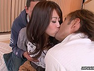 Relaxed Japanese MILF was in mood to let two bashful guys realize all their sexual dreams 3