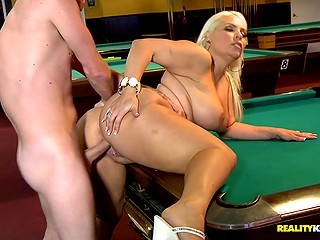 Light-haired dame with massive forms learned to play billiards before awesome fuck