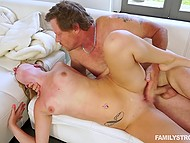Male fucked attractive stepdaughter thoroughly to teach her manners on white couch 6