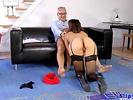 Old British porn agent fucks warm pussy of seductive Spanish hottie in stockings 7