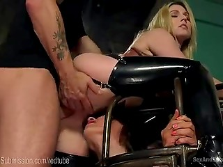 Merciless fucker ties up stacked blonde and her skinny friend to nail their assholes hard